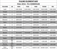 Palms Fall 2016 PE Schedule